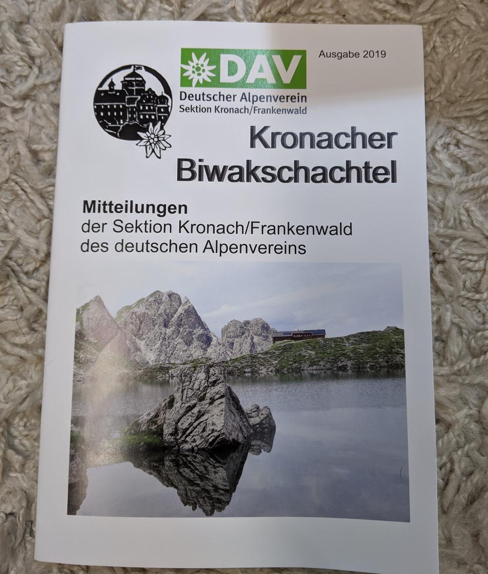 Artikel in der Biwakschachtel des Deutschen Alpenvereins Sektion Kronach/Frankenwald